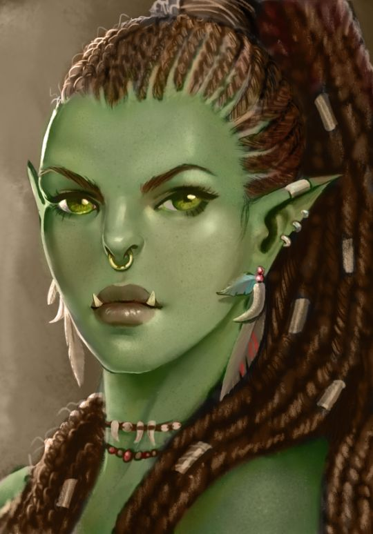 This is a really pretty looking half or maybe even full Orc lady.