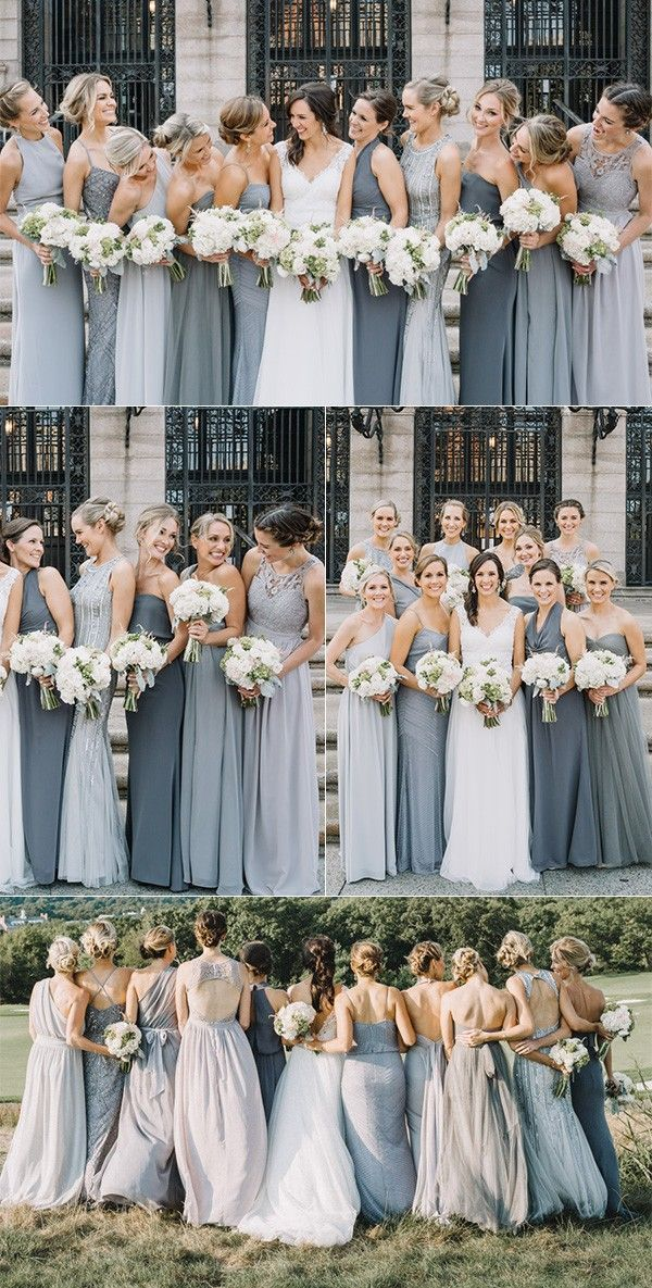 28a5e532e2 Shades of grey mismatched bridesmaid dresses.  winterwedding   bridesmaidsdress  weddingideas