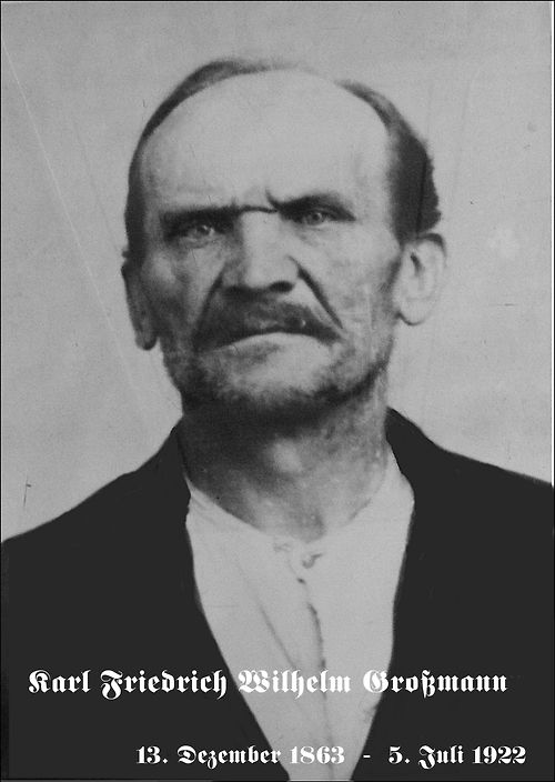 Carl Friedrich Wilhelm Großmann - German serial killer. He committed suicide while awaiting execution without giving a full confession. He had sadistic sexual tastes and soon picked up a number of convictions for child molestation. On 21 August in 1921, Großmann was arrested at his apartment in Berlin after neighbours heard screams and banging noises, followed by silence. The police burst in and searched the place, finding a young woman's freshly murdered body on the bed.