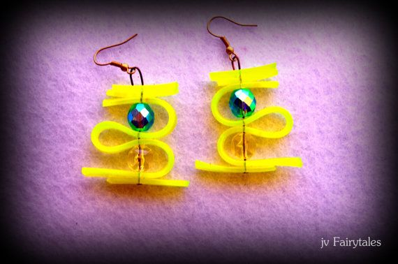 Yellow Rubber Earrings  Statement Earrings by jvFairytales on Etsy