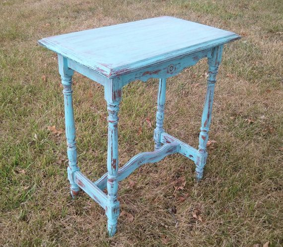 Distressed Turquoise Table by HayDayLiving on Etsy, $55.00