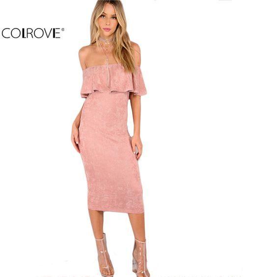 US $14.98 -- Colrovie женские вечерние платья элегантные вечерние пикантные Клубные платья спинки миди розовая из искусственной замши с открытыми плечами плиссированное платье купить на AliExpress