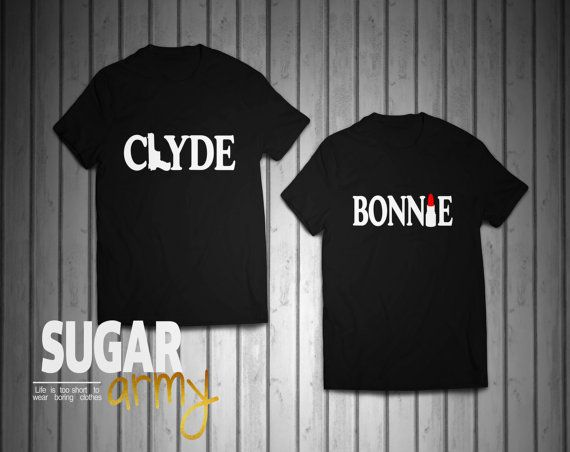 Bonnie and Clyde shirts, Bonnie Clyde shirts, GUN LIPSTICK couples shirts, Matching shirts for couples