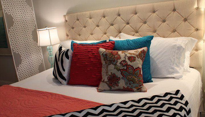 schlafzimmer ideen für bett kopfteil selber machen und für schlafzimmergestaltung in weiß und rot