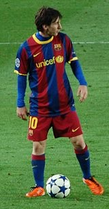 Lionel Messi-- playing for Barcelona.