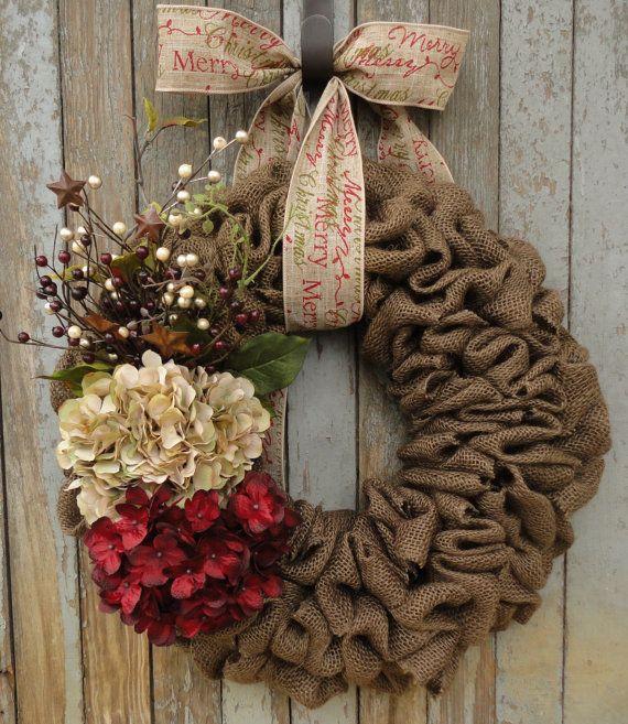 Toile de jute hortensia guirlande-guirlande-Beige et rouge Noël guirlande-hortensia Noël guirlande-vacances toile de jute-joyeux Noël guirlande de Noël