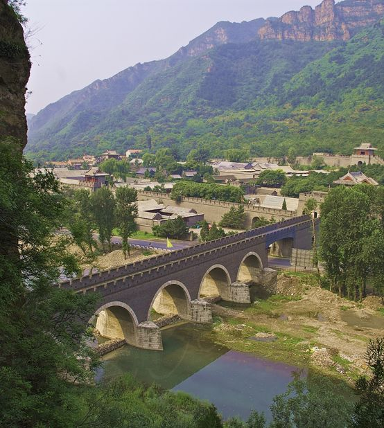 The Great Wall crosses a river at Huangyaguan in Hubei Province northeast of Beijing
