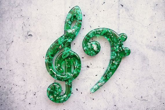 Beautifully Decorative Resin Treble and Bass Clefs by WordosaurusText