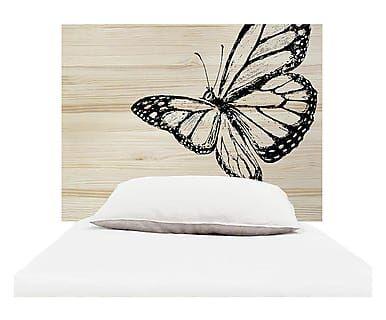 Testiera letto in legno Butterfly naturale e nero, 105x80x3 cm