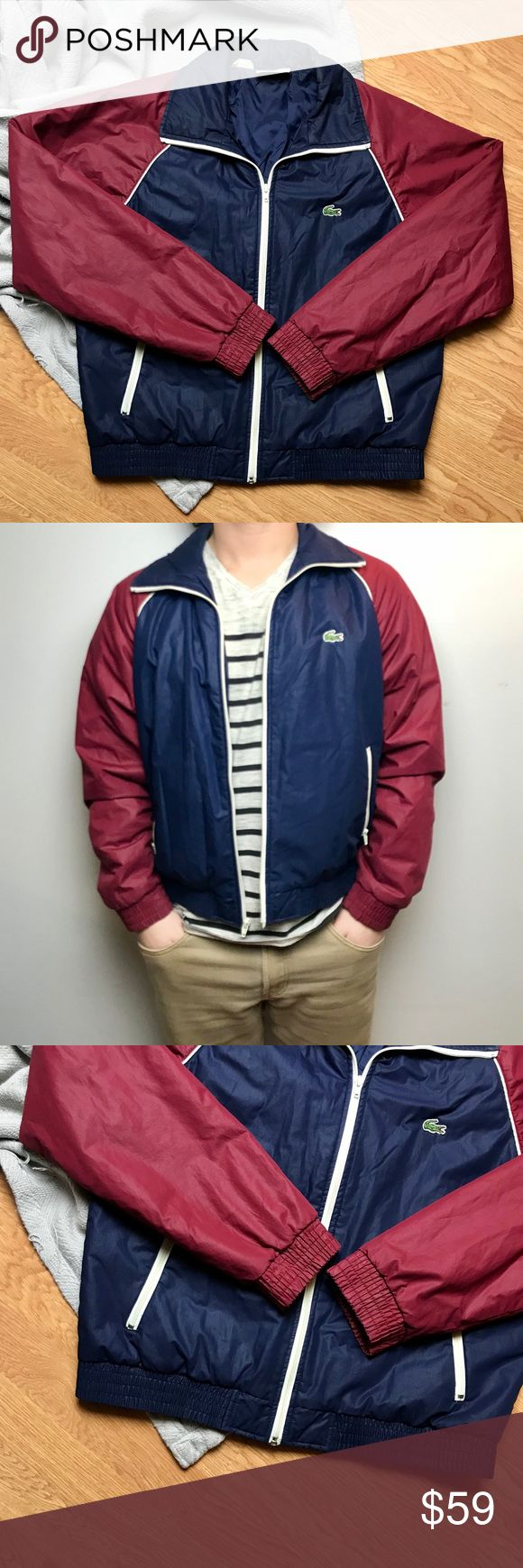 Vintage Lacoste Bomber Windbreaker Jacket Size L Dark blue and red vintage bomber jacket from Lacoste Izod! Off white/ cream color details the entire jacket. Traditional brand logo patch stitched on front of jacket. Two pockets on both sides for ease of storing essentials. Fully lined on the inside, elastic in ends of sleeves and bottom of jacket. Some wear but in great condition!  Men's size large Chest: 23.5 inches across  Length: 26 inches long  Sleeves: 21 inches long Lacoste Jackets…