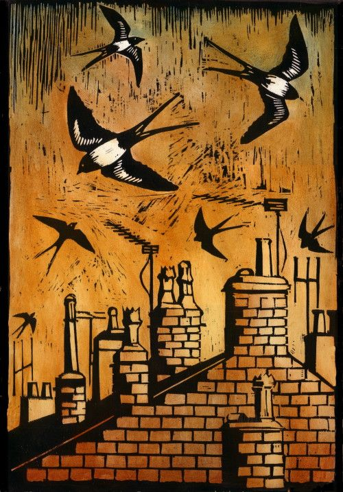 """""""Rooftops and Swallows"""" by artist Ian MacCulloch. Woodcut"""