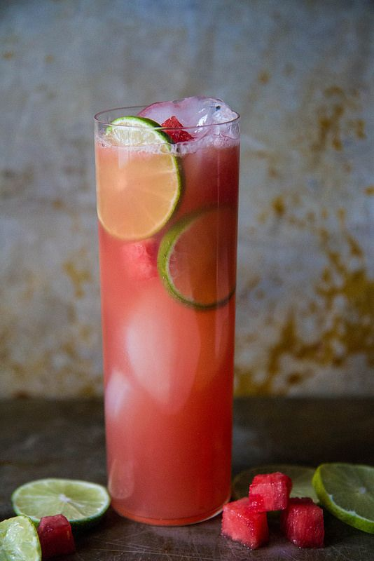 watermelon vodka limeade: 1 cup fresh seedless, cubed watermelon, 1 cup sugar, 1 cup water, 1 cup freshly squeezed lime juice (or frozen limeade concentrate because it's way easier), 1 cup water, 8 ounces vodka, and ice cubes.