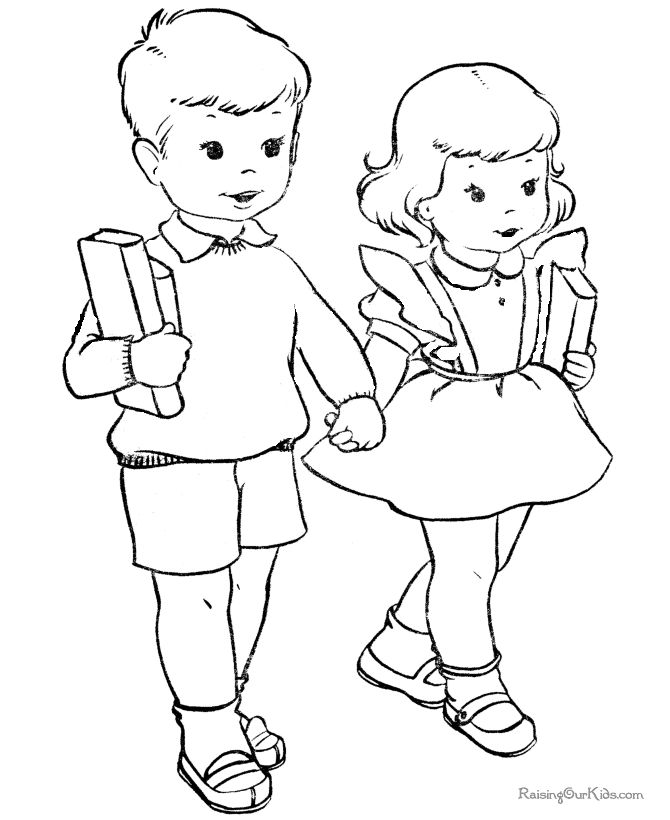 printable free cute coloring page for school - Coloring Pictures Of Children