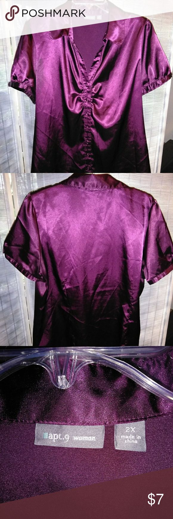 Apt 9 purple satin top Gently worn~still in good condition~ * no stains, snags or tears seen throughout Apt. 9 Tops