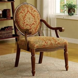 Hammond Accent Chair in Espresso / Antique Oak Finish by Furniture of America # CM-AC6024