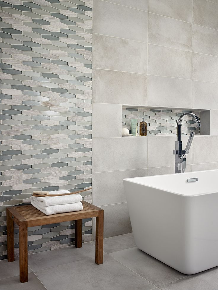 Europa Elongated Hexagon Glass Stone Blend Mosaic Wall Tile  it s easy to  add a splash of contemporary styling to your decor  This attractive tile  features