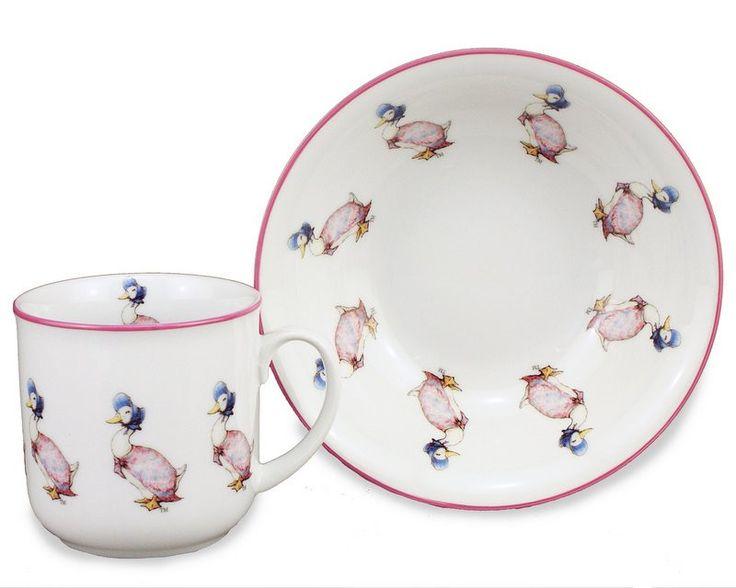 Porcelain Mug and Bowl: Jemima Puddle Duck