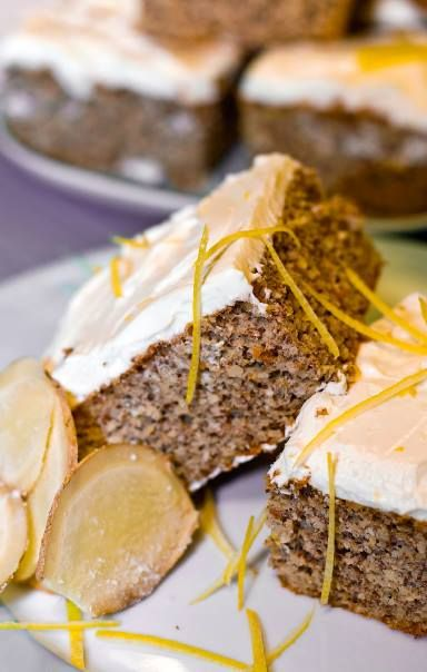 Low Carb GINGERBREAD SQUARES WITH LEMON FROSTING... Recipe by George Stella.....Low Carbing Among Friends on Facebook