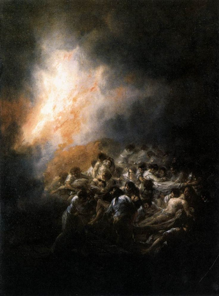 GOYA Y LUCIENTES, Francisco deFire at Night1793-94Oil on tinplate, 50 x 32cmBanco Inversion-Agepasa, Madrid