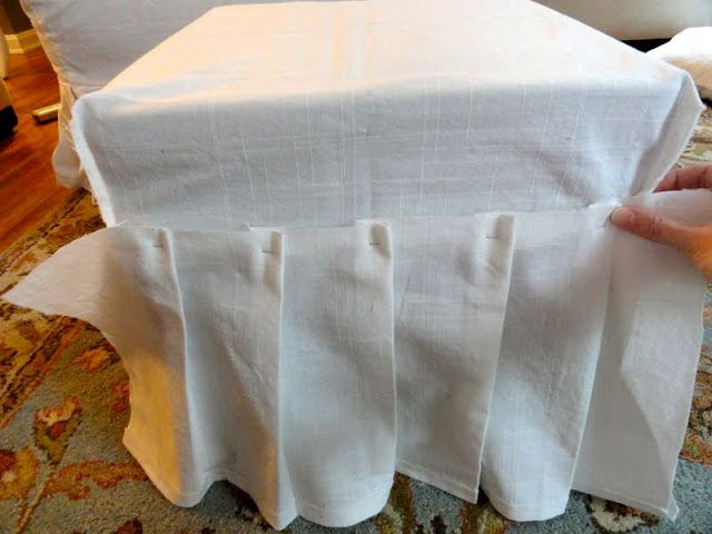ottoman cover with pleats