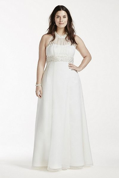 High Neck Halter Chiffon Plus Size Wedding Dress 9OP1243