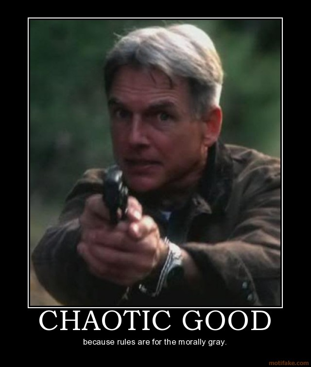 """Chaotic Good: Because rules are for the morally gray."" Not sure what that means but it's Mark Harmon as Gibbs in NCIS."