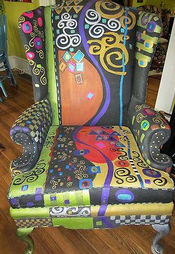 Hand Painted Wing Chair - KLIMT Motif by monapaints on etsy