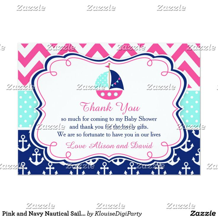 Pink and Navy Nautical Sailboat Baby Thank You Card