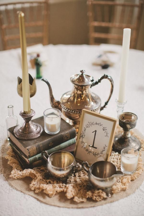 Vintage Chic Centerpieces from Alise and Conor's wedding in Georgia, USA.