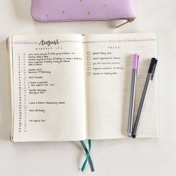 Keeping it nice and simple with my set up for August. I usually do a calendar layout but wanted to switch back to the original bullet journal monthly setup for a change!