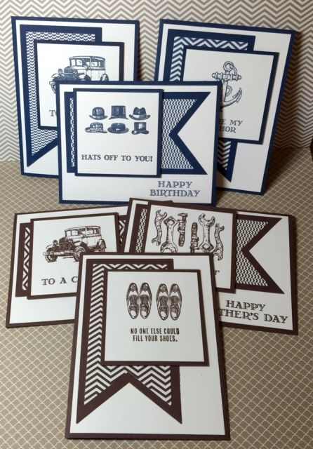 A stack of cards made with the Guy Greetings stamp set by Stampin' Up!, created by Linda Madison at www.stampinup.net.