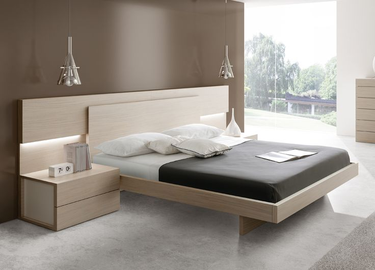 modern bed with wooden headboard