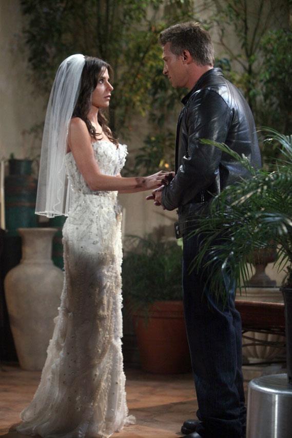 Jason (Steve Burton) and Sam (Kelly Monaco) prior to their casual wedding at an Asian restaurant on ABC's soap opera General Hospital.