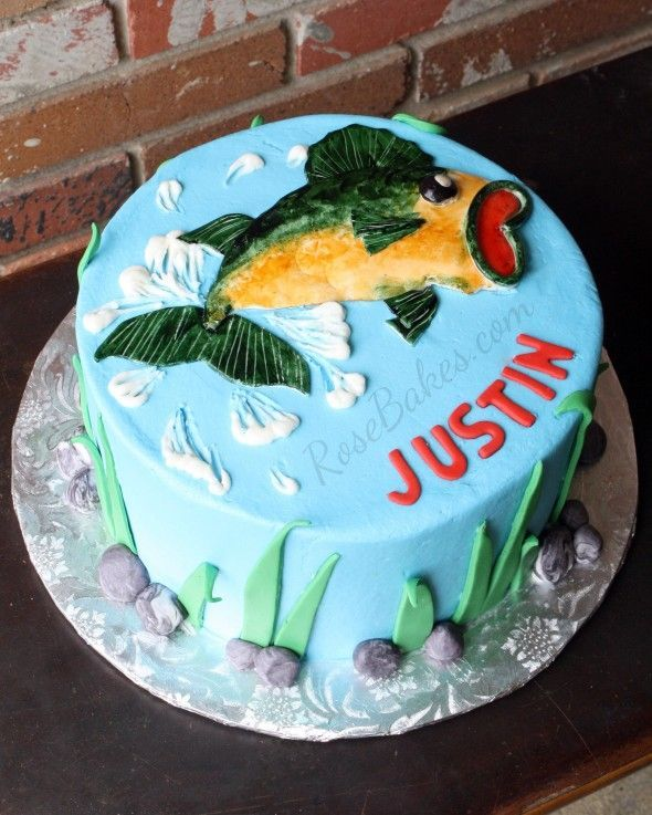 Incredible Bass Fishing Cake Bass Fish Cake Fish Cake Birthday 18Th Personalised Birthday Cards Epsylily Jamesorg