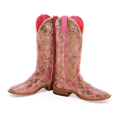BootDaddy Collection with Macie Bean Pink Patchwork Cowgirl Boots