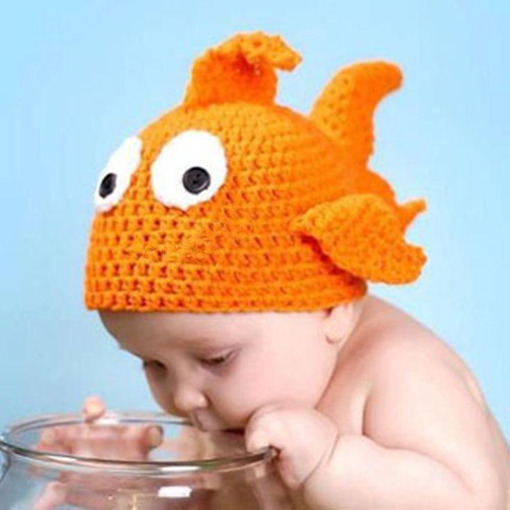 Ручной работы Вязаные Детские Hat Новорожденных Фотография Реквизит Младенческая Золотая Рыбка Шапочки Вязаные Крышка младенца для Фотография Реквизит 5HT81