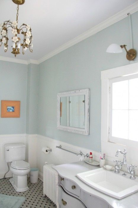 Master Bathroom Palladian Blue Coventry Gray Coral