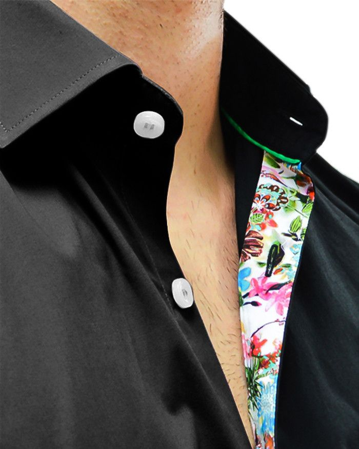 Long Sleeve Black Floral Designe Shirt | Stone Rose - BLACK