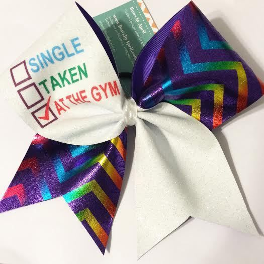 Bows by April - SINGLE, TAKEN or AT THE GYM Glitter and Rainbow Chevrons Cheer Bow, $15.00 (http://www.bowsbyapril.com/single-taken-or-at-the-gym-glitter-and-rainbow-chevrons-cheer-bow/)