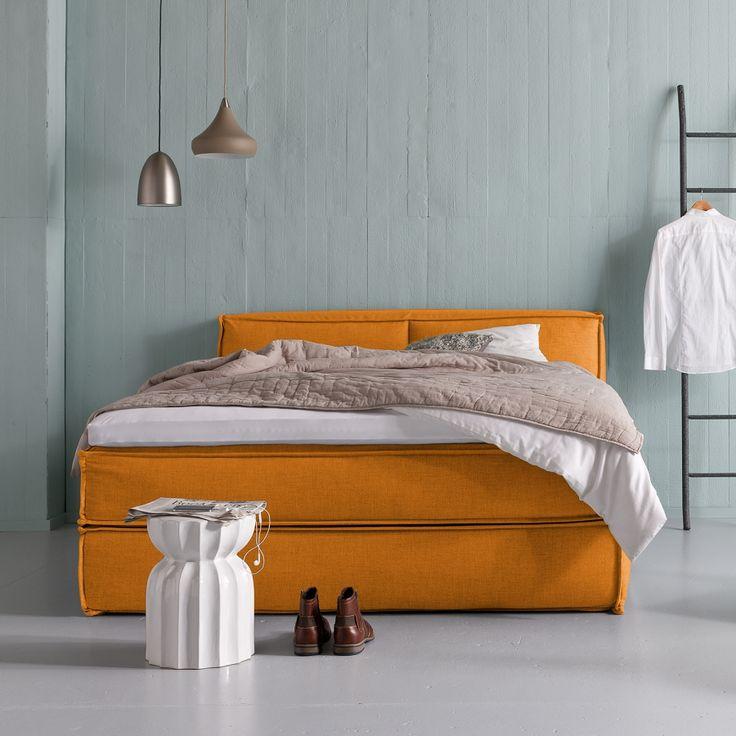 Boxspringbett Kinx - Webstoff - Orange - 100 cm - 180 x 220 cm