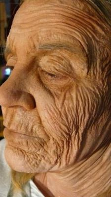 A more dramatic old-age makeup done during a test for a project last year on the same model from 'MMFX 101'.