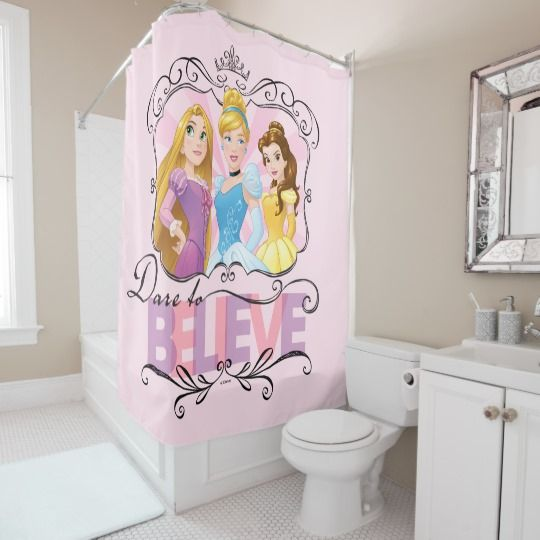 Disney Princess: Dare to Believe Shower Curtain. Features Rapunzel, Cinderella and Belle #Ad