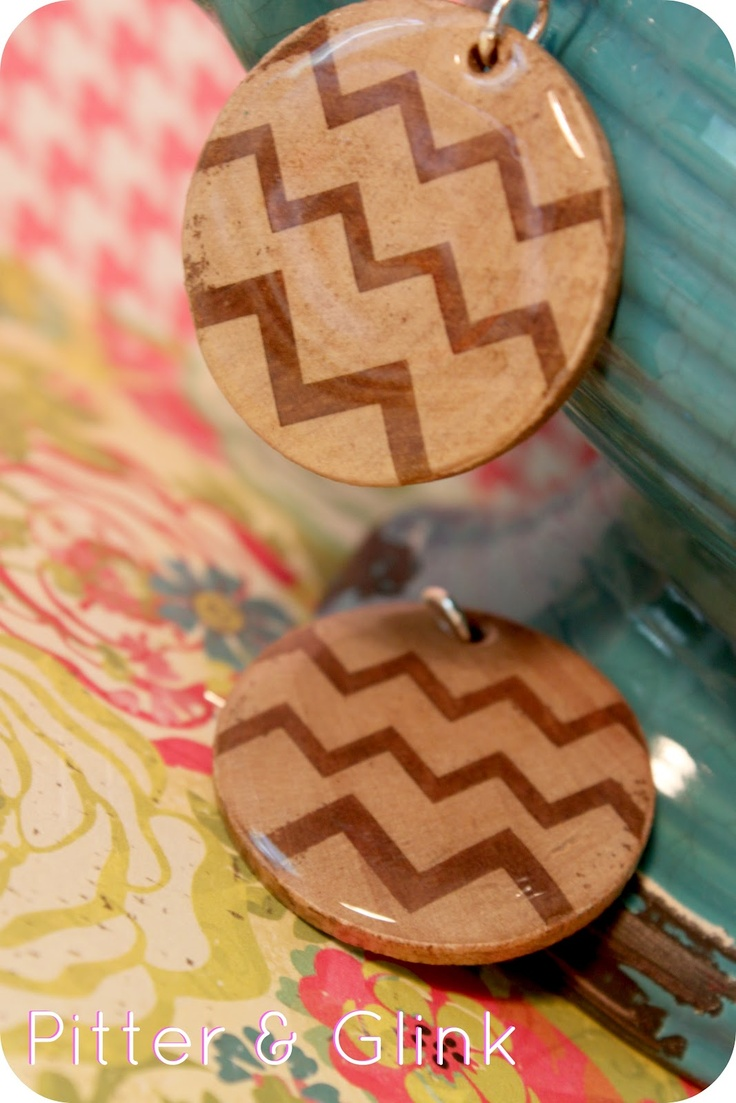PitterAndGlink: {Chevron Wooden Earrings} - This clever project uses wood glue as a resist, wood stain, and Mod Podge (regular and Dimensional Magic formulas). So many possibilities with this technique!