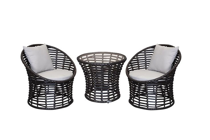 """Seaside 3pc Patio Setting - The genius of the Seaside 3 piece black stacker is in the design. This contemporary outdoor wicker setting stacks away into nothing but a compact """"pod"""" allowing for space saving storage - buy a few to """"explode out"""" at parties for cosy little conversation corners.  """"The Seaside"""" is ideally suited to a small balcony or apartment living, equally at home outside or in - this is a perfect stand alone piece for small areas, or compactly stores away as stylish additional…"""