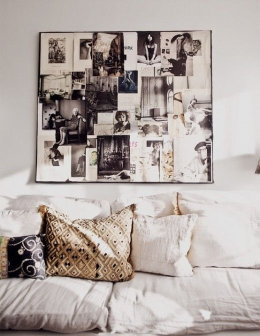 cool worn sofa's via simply grove...love the photo collage...