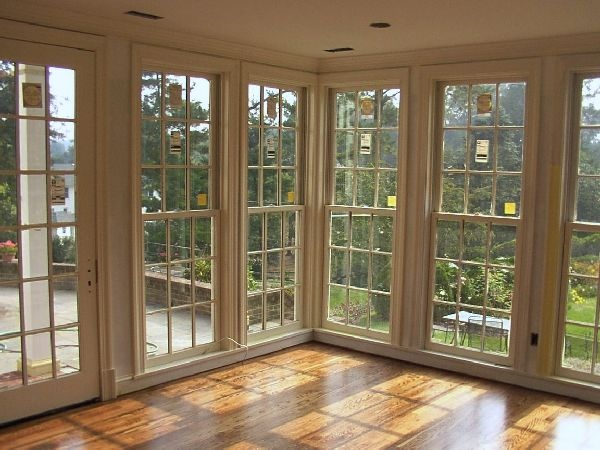 low set double hung windows great for enclosed porch