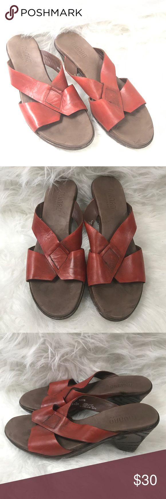 MUNRO ORANGE CRISS CROSS SLIP ON SHOES SIZE 7.5 Good condition Munro slip on shoes size 7.5 Munro Shoes Sandals