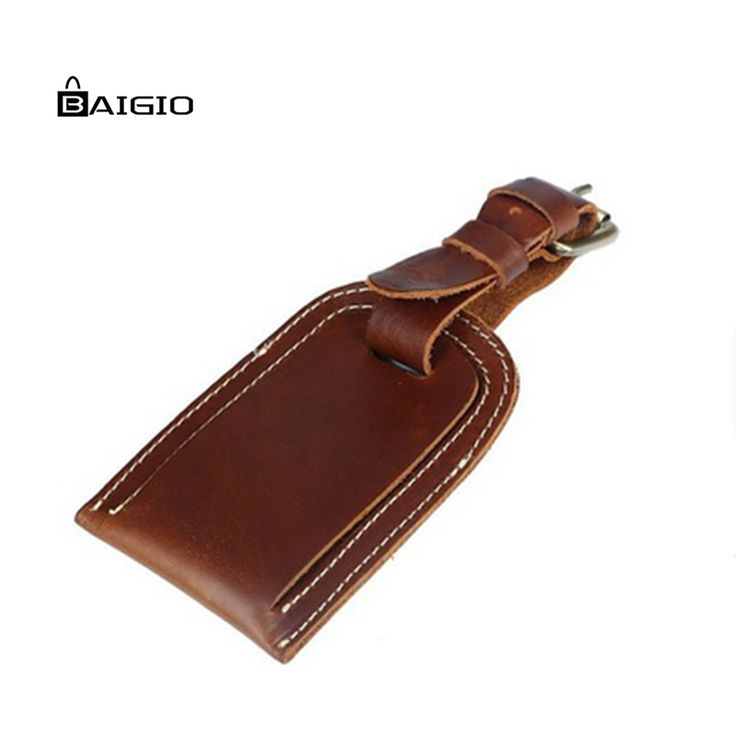 Baigio Car Holder Genuine Leather Luggage Tags Business Suitcase Retro Brown Travel Flight  Suit Bag Name Holder Label ID Tags