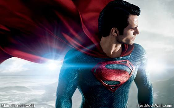 Superman on a landscape with a flare