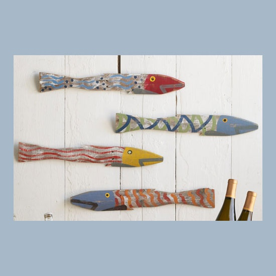 hand-painted carved fish
